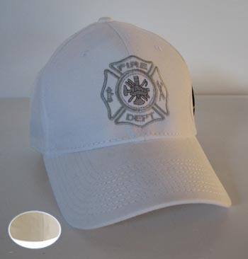 White flex fit firefighter hat cap embroidered H006 l/x