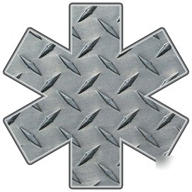 Fire rescue diamond plate star of life decal