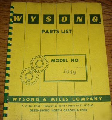 Wysong 1048 power squaring shear parts manual